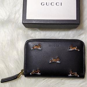 NIB Gucci Mini Zip Around Leather Wallet